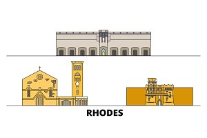 Greece, Rhodes flat landmarks vector