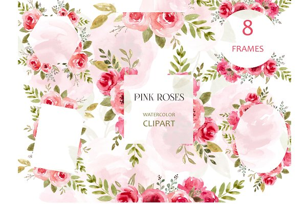 Floral Frames Watercolor Clipart png