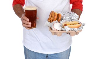Sports Fan Carrying Food and Beer