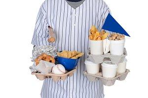 Sports Fan Carrying Food Drinks
