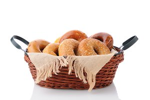 Basket of Bagels with napkin