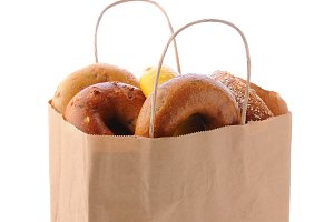 Brown Bag with handles full of bagel
