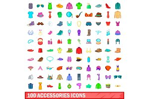 100 accessories icons set, cartoon