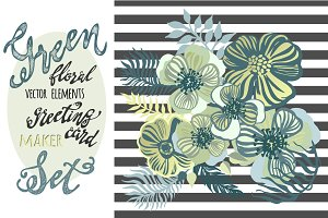 Green flowers vector elements set