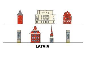 Latvia flat landmarks vector