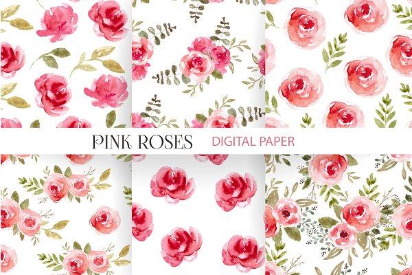 Pink Flowers Patterns, Digital Paper