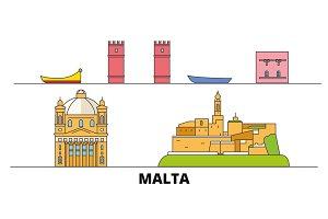 Malta flat landmarks vector