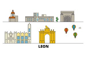 Mexico, Leon flat landmarks vector