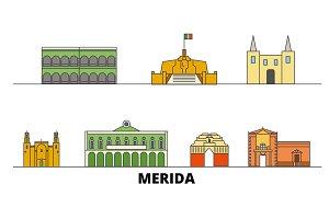 Mexico, Merida flat landmarks vector