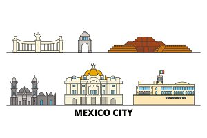 Mexico, Mexico flat landmarks vector