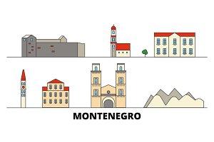 Montenegro flat landmarks vector