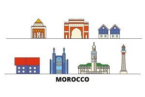 Morocco flat landmarks vector