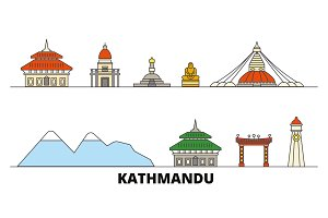 Nepal, Kathmandu flat landmarks