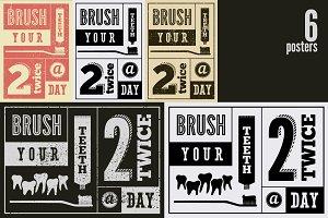 Typographic vintage dental posters.
