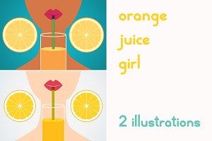Cartoon girl drinking orange juice.