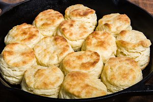 Cast iron skillet with biscuits