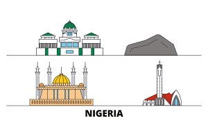 Nigeria flat landmarks vector