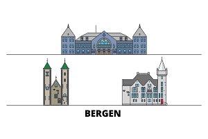 Norway, Bergen flat landmarks vector