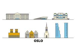 Norway, Oslo flat landmarks vector