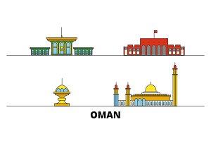 Oman, Muscat flat landmarks vector