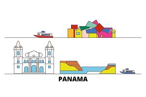 Panama flat landmarks vector