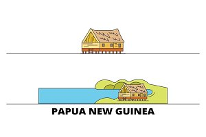 Papua New Guinea flat landmarks
