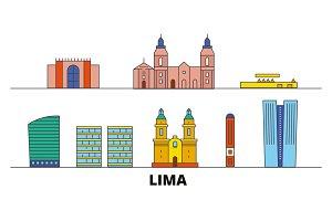 Peru, Lima flat landmarks vector