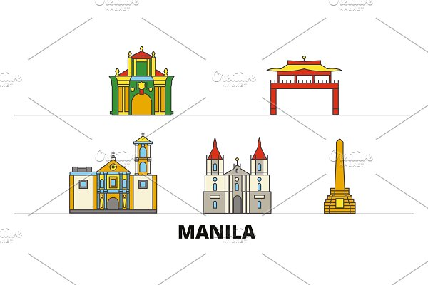 Philippines, Manila flat landmarks