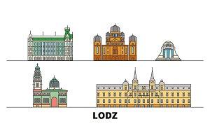 Poland, Lodz flat landmarks vector
