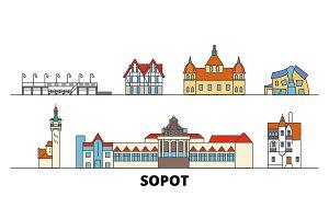 Poland, Sopot flat landmarks vector