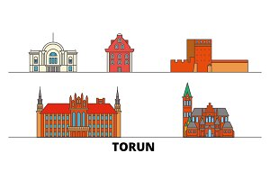 Poland, Torun flat landmarks vector