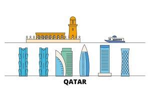 Qatar, Doha flat landmarks vector