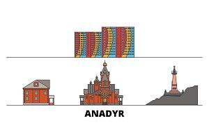 Russia, Anadyr flat landmarks vector