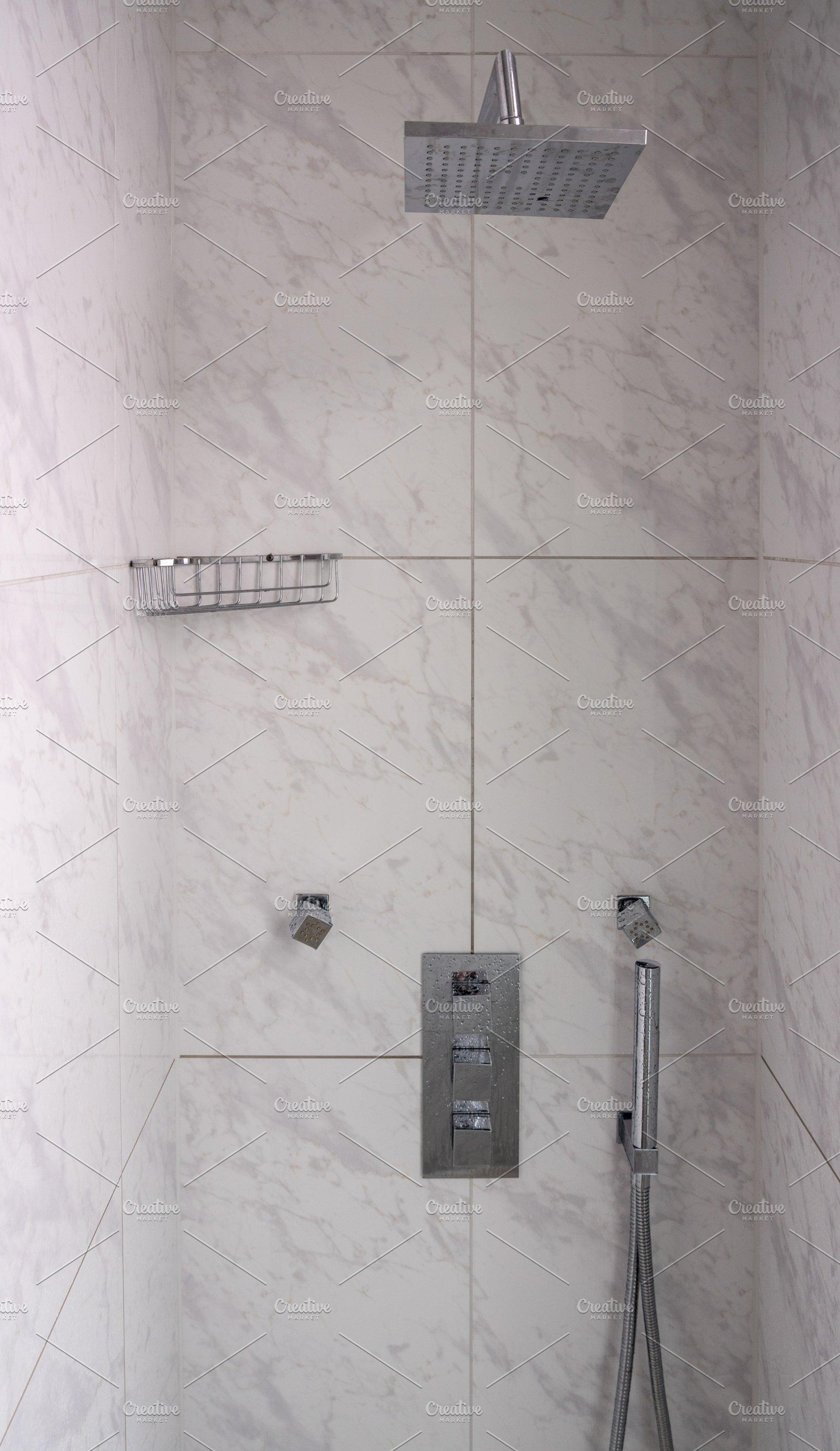 . Modern shower with rain head and