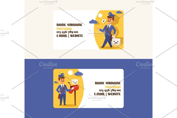 Postman vector business card mailman