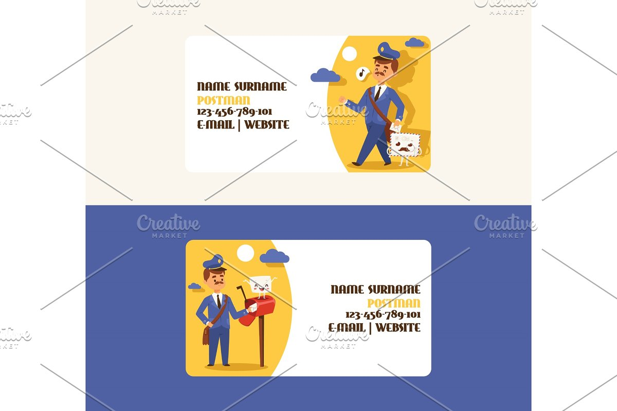 Postman vector business card mailman in Textures - product preview 8
