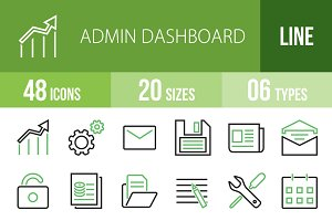 48 Admin Dashboard Green&Black Icons