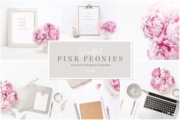 Pink Peonies - 16 Photos and Mockup…