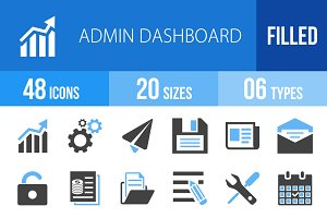 48 Admin Dashboard Blue&Black Icons