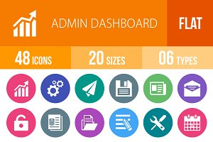 48 Admin Dashboard Flat Round Icons