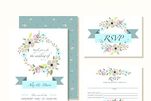Hand Sketched Floral Invitation Set