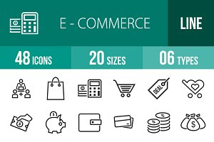 48 Ecommerce Line Icons