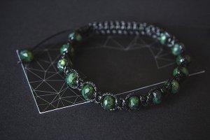 bracelet with jade on a black