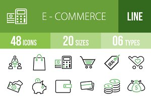 48 Ecommerce Green & Black Icons