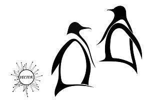 Two silhouette of penguin