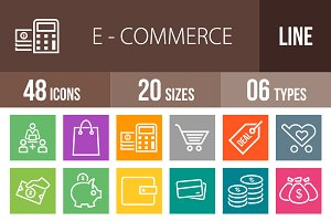 48 Ecommerce Line Multicolor Icons