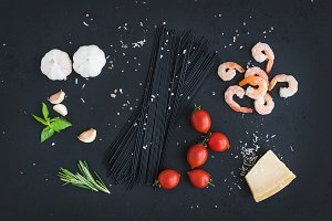 Ingredients for pasta with seafood