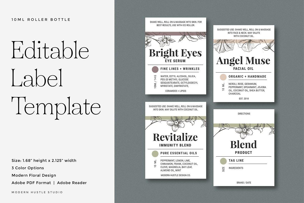 Roller Bottle Labels - Template ~ Templates ~ Creative Market