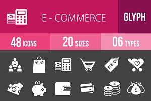 48 Ecommerce Glyph Inverted Icons
