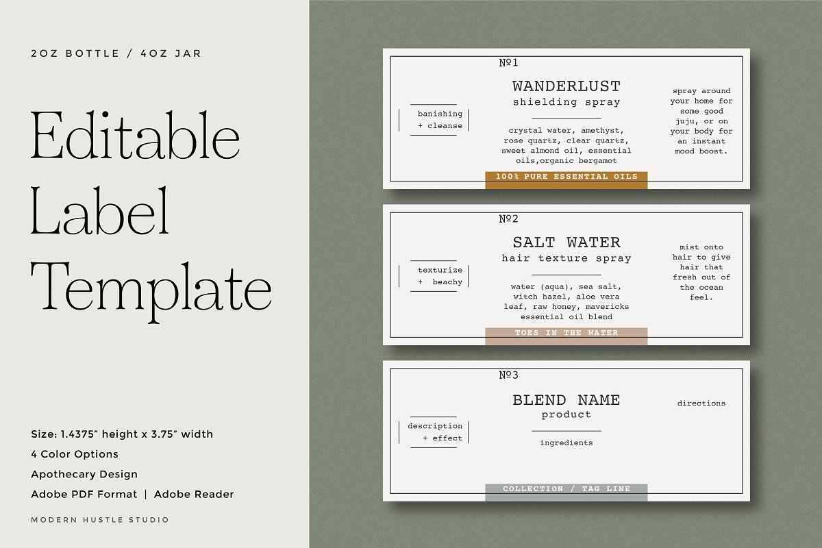 Bottle & Jar Labels - Template ~ Templates ~ Creative Market